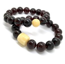 2x bracelets of Baltic amber beads ø12 mm - cherry translucent, weight 29.4 grams - no reserve