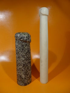 Decorative; Lot of 2 stone phallus sculptures - 1980