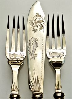Clara Well - 800 Silver Fish Cutlery, 8 Pieces (4 People) - Floral Art Nouveau