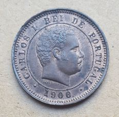 Portugal – 5 Reis 1906 Over 1900 Mintmark – Carlos I – FDC . Extremely Rare