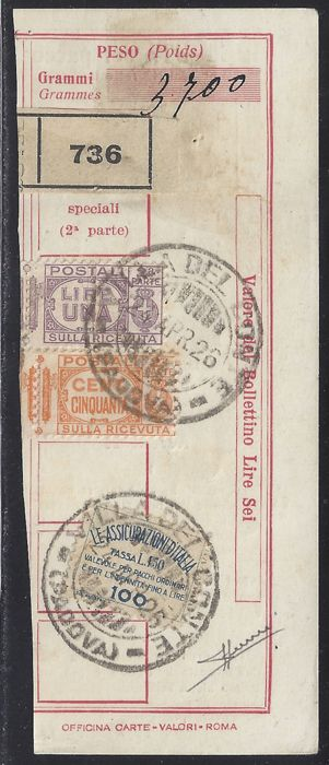 Italy 1926 – Insurance stamps, left side (instead of right side) on receipt for postal parcel – Sass.  No. 9 and Parcels Numbers  29/30