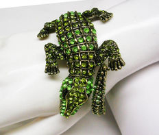 "Signed KENNETH JAY LANE - Spectacular Alligator clamper bracelet with crystals ""Couture Collection"""