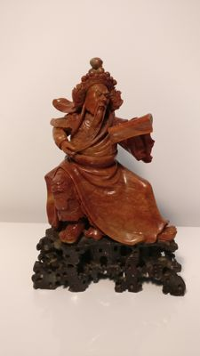 Extremely fine talc general statue – China – mid-20th century