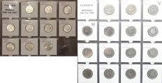 The Netherlands - 1 guilder 1954/1980 Juliana (25 different coins) including silver (10 x)