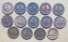 Portuguese Republic – Large lot of 14 copies – 5 Centavos 1925