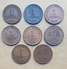 Portuguese Republic - Large lot of 8 copies - 1 Centavo 1920 Closed 'P'