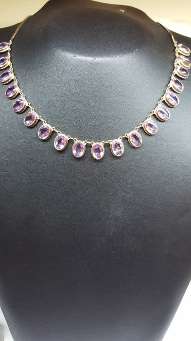 14 kt yellow gold women's necklace set with amethysts – Measurements: length approx. 39 cm