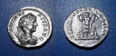 Roman Imperial - Caracalla Denarius.  circa 201. Trophy with two captives seated at base.