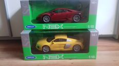 Welly-Nex - Scale 1/18 - lot with  Audi R8 V10 2016 & Lamborghini Huracan LP610-4