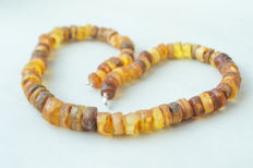 Old Baltic Amber necklace, in lemon, butterscotch, egg yolk, honey colour, 73 gram