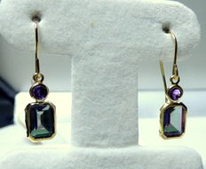 14 kt earrings with 2.5 ct mystic topazes and amethysts, length:  2.3 cm, width 0.7 cm.