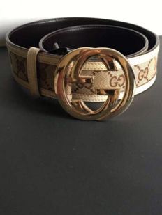 Gucci - Belt 100% Beige Leather monogrammed with golden buckle GG
