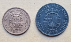 Mozambique / Republic – 2 coins – 50 Centavos & 1 Escudo 1945 Above Average