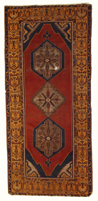 Hand made antique Turkish Anatolian rug 4,1' x 9,1' ( 127cm x 279cm ) 1930s