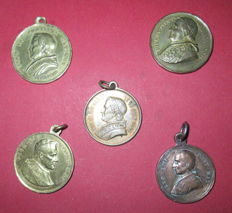 Vatican - lot of 5 bronze papal medals - 19th century