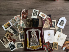 Devotional pictures, rosary, small devotional books