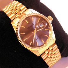 Lowell DAY DATE unisex wristwatch, made in Italy, laminated in 18 kt gold, NEW