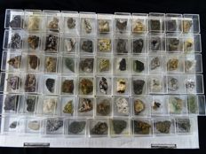 Collection of Micromount Mineral Specimens  - 4,1 x 3,5 x 3,2 cm - 1,6kg (64)