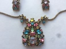 Demi parure with necklace and earrings by HOLLYCRAFT - 1950