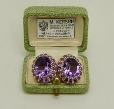 Solid 1st grade silver earrings set with amethyst & pink sapphires