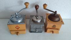 Three old classic coffee grinders