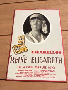 Antique advertising sheet metal - Cigarillos Queen Elizabeth - tobacco cigarette - 1956
