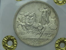"Kingdom of Italy silver coin - 2 ""Quadriga Briosa"" liras from 1917, with Vittorio Emanuele III"