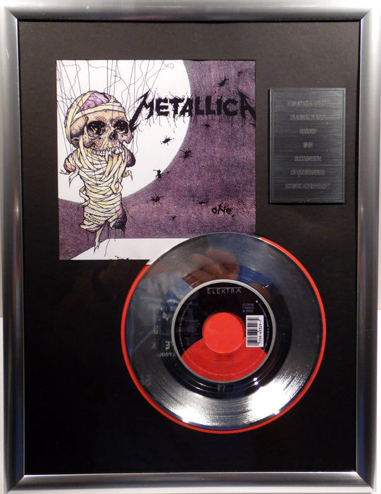 "Metallica - ONE - 7"" Single Elektra Records platinum plated record Special Edition"