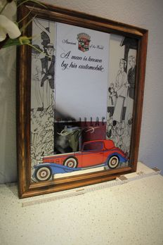 Cadillac Old Mirror 61 X 49,5 cm   -  No reserve price