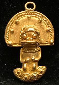 Tumbaga Gold , artifact , Colombia ,  Tairona Culture ,  35 x 23 x 9 mm , 9,3 grams, A pendant of a Grand Shaman