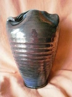 Buchtal - nacreous striped ceramics vase, with folded top edge