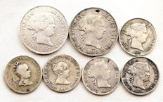 Spain, Isabel II — Lot of 7 silver coins — various