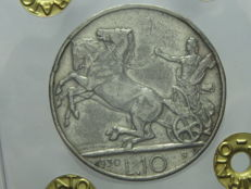 Kingdom of Italy, 1930 – 10 Lire,  'Chariot' – Vittorio Emanuele III – Silver