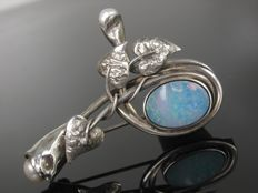 Solid opal and pearl brooch with floral motif