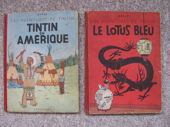 Check out our Tintin T2 + T4 - Tintin en Amérique + Le Lotus Bleu - 2x hc - 1e/2e druk (1946/1947)