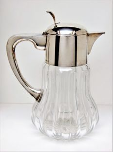 Large Art Deco Carafe with Ice Cube Insert Sgd. EH (Entenmann & Hirzel)