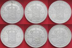 The Netherlands - 2½ guilders  1929/1937 Wilhelmina (6 different coins) - silver