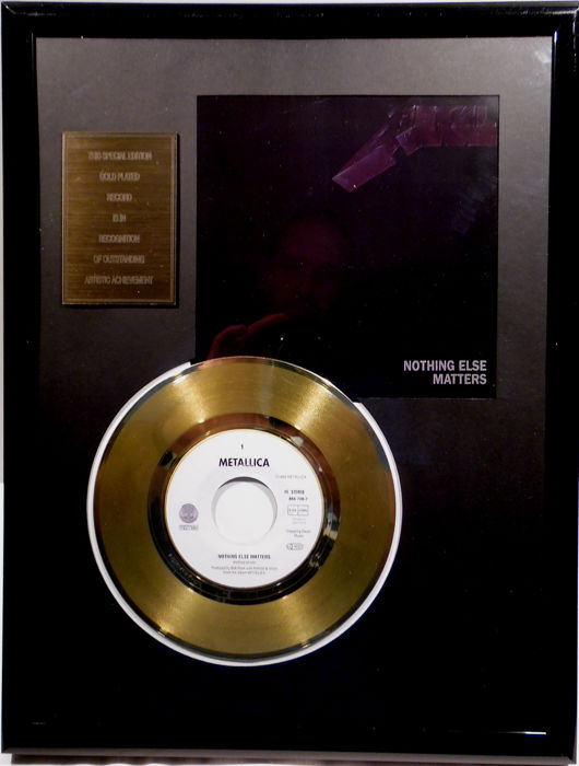 "Metallica - Nothing Else Mattere - 7"" Single Vertigo Records golden plated record Special Gold Edition"