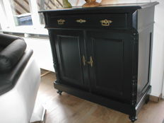 A black-painted pine Historismus cabinet with cutlery tray - Germany - circa 1880