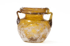 Roman glass jar in copper-coloured, 9 cm x 9.5 cm wide.
