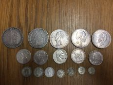 Netherlands – collection of 17 old silver coins 1768-1938 – silver