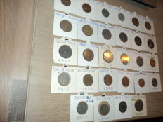Belgium - Lot of 72 coins 1836/1946 including 5F 1873 Leopold II