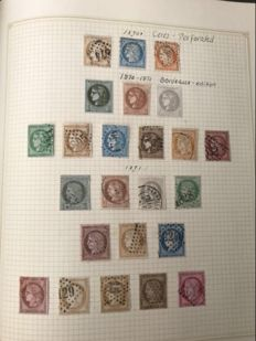France 1870 - Ceres AFA 34/36 - 1870/71 Bordeaux edition AFA 37/45  1871/75 Ceres line/dashes on neck AFA 50/56