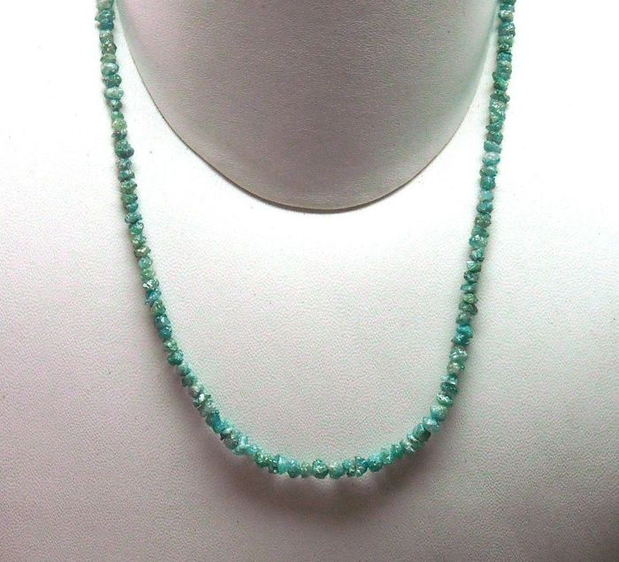 "Blue Rough Diamond Bead Necklace 16"" inches long 925 Sterling Silver Clasp"