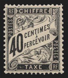 France 1881 - Duval tax stamp 40 c black - Yvert 19