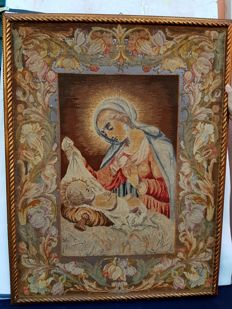 Wool and silk tapestry, Madonna and Child, circa 1900, H 108 x 81 cm - France