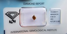 Natural Diamond - 0.42 ct - Fancy Step cut -  Natural Fancy Deep Orangy Brown - VS1 - No Reserve Price