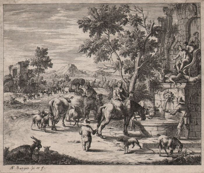 A F Bargas ( 1670 -- 1692) - The watering place - Ca 1685/1692