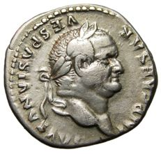 Roman Empire - Vespasian AR Denarius, Securitas, 75 AD