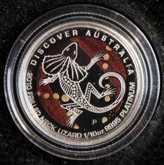 Australia – 15 Dollars 2010 'Frilled Neck Lizard' with coloured background – 1/10 oz platinum